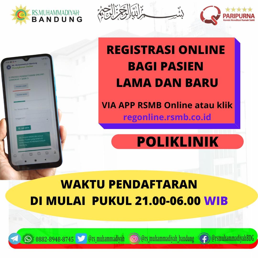 Assalamualikum kini pasien baru sudah dapat mendaftar melalui APP Registrasi onlne RS Muhammadiyah Bandung manfaatkan kemudahan ini untuk kenyamanan anda